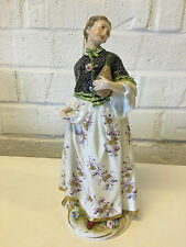 Vintage Antique Likely German Porcelain Figurine Woman Holding Vessel for Liquid