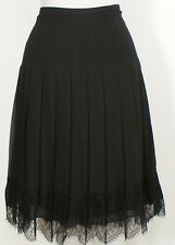 RALPH LAUREN Skirt Black Crepe Release Pleated Floral Lace Hem Plus 18 18W New