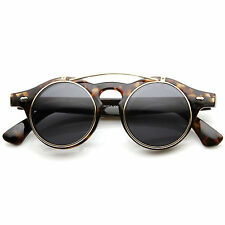 zeroUV Small Retro Steampunk Circle Flip Up Glasses / Sunglasses