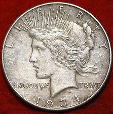 1934-P  PEACE SILVER DOLLAR, Philadelphia Mint, Very Fine 90% Silver Coin