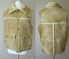 VINTAGE OVERLAND SHEEPSKIN CO. LEATHER FUR WESTERN RANCH JACKET COAT VEST TOP L