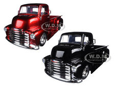 1952 CHEVROLET COE BLACK/RED W/ CHROME WHEELS SET 2 CARS 1/24 JADA 97460-97462