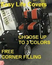 CLUB CAR DS+2000 GOLF CART CUSTOM SEAT COVERS FRONT&REAR COMBO STAPLE ON #60i.w.