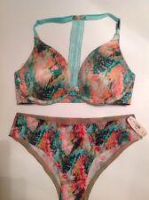 Victorias Secret NWT Push Up T Back F/C Bra Panty Set 32D,S Watercolor