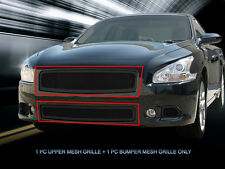 Fits 09-14 Nissan Maxima Stainless Steel Black Mesh Grille Combo Insert Fedar