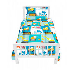 Construction Digger Single Bed Size Duvet Cover Set & Pillowcase Children's Kid