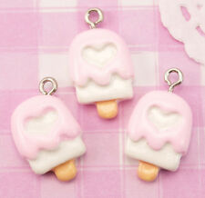6 x Pink Heart Ice Lolly Cake Resin Beads WITH BAILS Crafts Deco Kawaii UK SELL