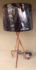 Cuivre industriel urbain moderne métal noir trépied abat-jour tambour bureau Lampe de table NOUVEAU
