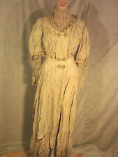 Vintage Edwardian Tea Dress Ecru GC Arts & Crafts Embroidery S  Lace Sleeves
