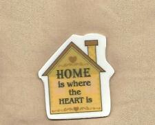 Golden HOUSE SHAPE Inspirational HOME IS WHERE THE HEART IS Magnet 2-1/2 x 2-1/4
