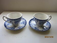 Two Myott Chelsea Garden Cups and Saucers blue and white England more available