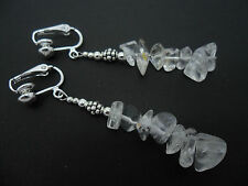 A PRETTY PAIR OF CLEAR QUARTZ   CHIPS  DANGLY  CLIP ON EARRINGS. NEW.