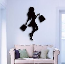 Wall Sticker Fashion Shopping Girl Woman Female Cool Decor For Bedroom  z1517