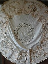 "Estate Antique Handmade Lace Round Tablecloth Grapes Motif 69"" for Repair"