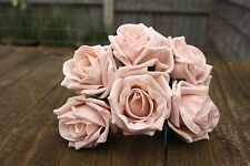 36 x VINTAGE PEACH LUXURY COLOURFAST FOAM OPEN COTTAGE ROSES 6cm  BRIDAL WEDDING