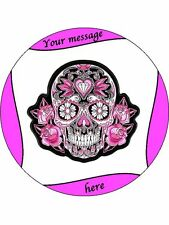 "Personalised Pink & Black Sugar Skull image 7.5"" Edible Wafer Paper Cake Topper"