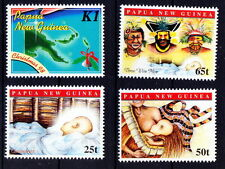 Papua NG MNH 4v, Breast Feeding, Tribals, Map, Christmas, Festival -