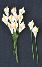 50 WHITE Mulbery Paper miniature arum CALLA LILY for crafts wedding  card