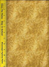 "108"" WIDE QUILT BACKING BY THE YARD: GOLD TONAL VINEYARD 500TVW, 100% Cotton"