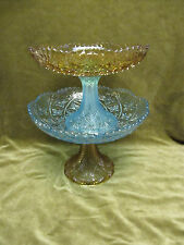 "2 coupes sur pied verre George Sand Portieux ""croix"" french glass 2 footed bowls"