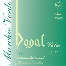 Dogal Green Label Violin String Set for full 4/4 and 3/4 size violin