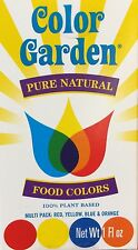 1oz Color Garden Pure Natural Food Colors Red Yellow Blue Orange 100% Plant Base