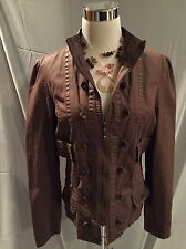 WOMEN'S AI Military Style Cadet Chocolate Brown Jacket Zipper SIZE Large