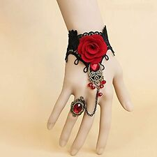 1pcs Handmade Retro Black Lace Vampire Slave Bracelet With Fabric Flower And Red