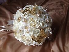 Bride Bouquet Bridesmaid Posy Wedding Foam Flowers Pearls Brooches Bridal Budget