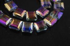 Bulk 10ps Purple Colorized Glass Square Beads Spacer Craft Jewelry Findings 14mm