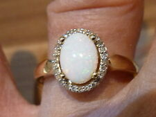 New 9 Carat Yellow Gold Opal & Diamond Ring Size O