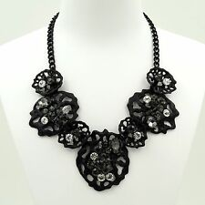 New Fashion Black Alloy Clear Crystal Chain Bib Statement Necklace 04809