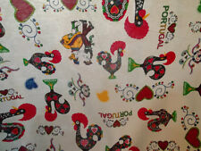 PURE COTTON TABLECLOTH Portuguese Barcelos rooster, folk dancing  SHIPS FREE