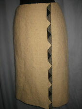 CHANEL BOUTIQUE Whit Wool silk BLACK TRIM WRAP PENCIL Long Tweed Skirt RARE M