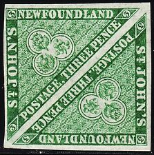 NFLD 3d Heralidic Flowers Pair, Scott 11A, VF MNH/MH (note), catalogue - $480