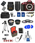 Nikon D5300 Digital SLR Red Camera + 32GB Value Bundle + 18-55mm VR + 70-300mmG
