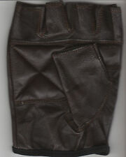 PAIR OF DARK BROWN LEATHER FINGERLESS GLOVES - SIZE MEDIUM