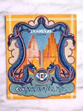 CATHAY HOTELS LTD. SHANGHAI...CATHAY & METROPOLE...RARE ORIGINAL LUGGAGE LABEL