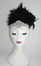 Black & Silver Feather Headdress Burlesque Headband 1920s Showgirl Carnival Y33