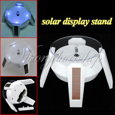 Solar Powered Jewelry Rotating Display Stand Turn Table With LED Light NEW