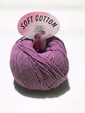 Filati ferri maglia gomitoli 80% Cotone morbido tinta unita Violetto