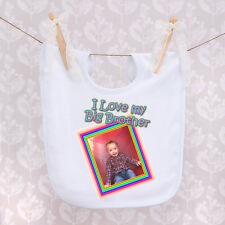 Personalised Baby Bib - I Love My Big Brother/Sister with Any Words and Photo