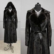 Gorgeous Vintage 70s Dark Ranch Hooded Fully Let Out Female Mink Fur Coat XS S