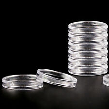 10pcs 27mm Applied Clear Round Cases Coin Storage Capsules Holder Plastic  CH