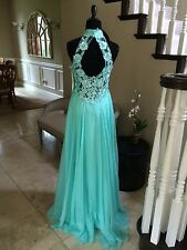 $288 NWT AQUA DAVE AND JOHNNY PROM/PAGEANT/FORMAL DRESS/GOWN #1007 SIZE 3/4