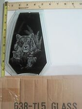 FREE US SHIP OK Touch Lamp Replacement Glass Panel Bengal Tiger & Cubs 638-TI5