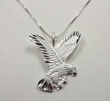 STERLING SILVER AMERICAN MAJESTIC FREEDOM EAGLE BIRD ANIMAL PENDANT NECKLACE