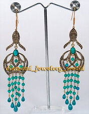 Vintage Estate 4.01ct Rose Cut Diamond Turquoise Sterling Silver Jewelry Earring