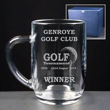 Personalised Engraved Glass 1pt Beer Tankard Golf Tournament Trophy Golfer Award