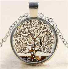 New Tree of Life Cabochon Glass Tibet Silver Chain Pendant Necklace#1367